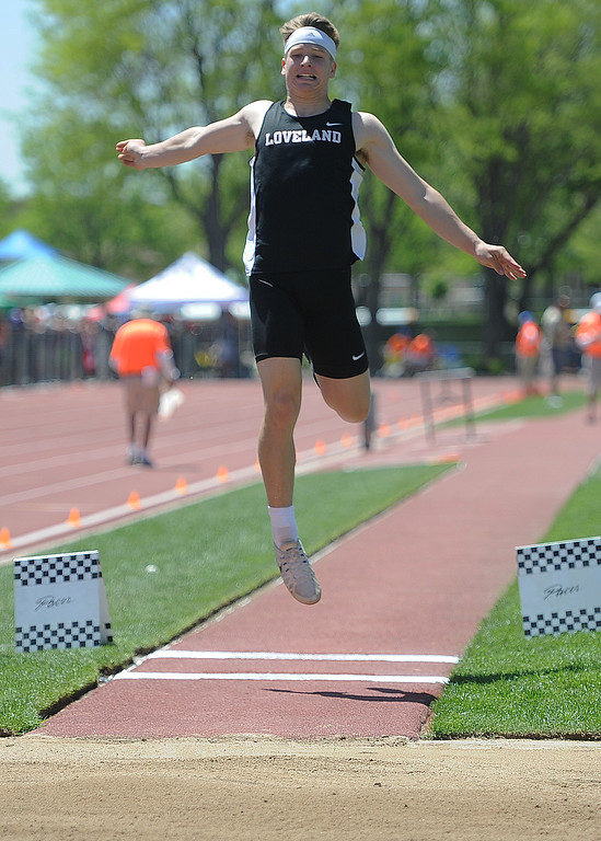 . Loveland\'s Zach Weinmaster competes in the long jump at the 2018 state track and field meet on Thursday, May 17, 2018 at Jeffco Stadium in Lakewood. (Sean Star/Loveland Reporter-Herald)