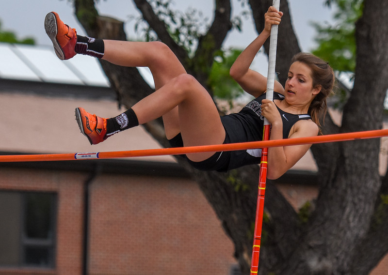 Berthoud's Jordan Keck clears the bar of the 3A pole vault at the 2018 state track and field meet Friday May 18, 2018 at Jeffco Stadium in Lakewood. (Cris Tiller / Loveland Reporter-Herald)