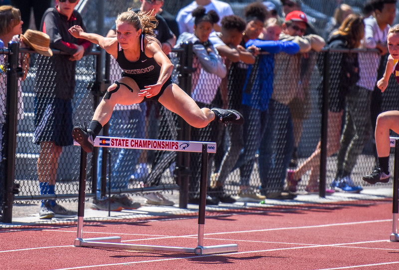 Berthoud's Samantha Mulder leaps a hurdle during the 300-meter hurdles at the 2018 state track and field meet Friday May 18, 2018 at Jeffco Stadium in Lakewood. (Cris Tiller / Loveland Reporter-Herald)
