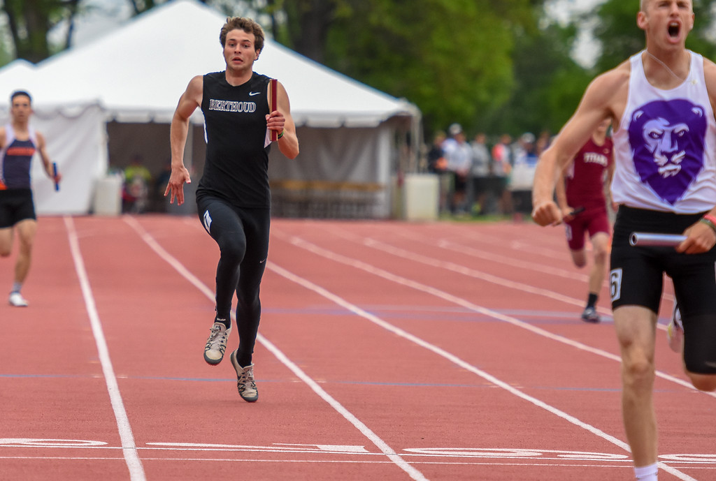 . Berthoud\'s Ryan Schmad sprints to the finish of the 3A 4x200-meter relay as the Spartans finished third at the 2018 state track and field meet Friday May 18, 2018 at Jeffco Stadium in Lakewood. (Cris Tiller / Loveland Reporter-Herald)