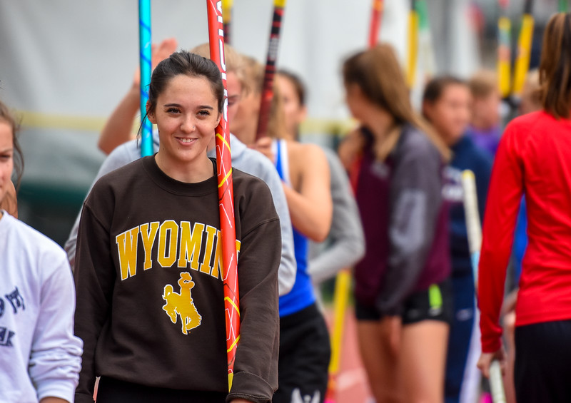 Berthoud's Emma Briles smiles while waiting in line during warmups for 3A pole vault at the 2018 state track and field meet Friday May 18, 2018 at Jeffco Stadium in Lakewood. (Cris Tiller / Loveland Reporter-Herald)