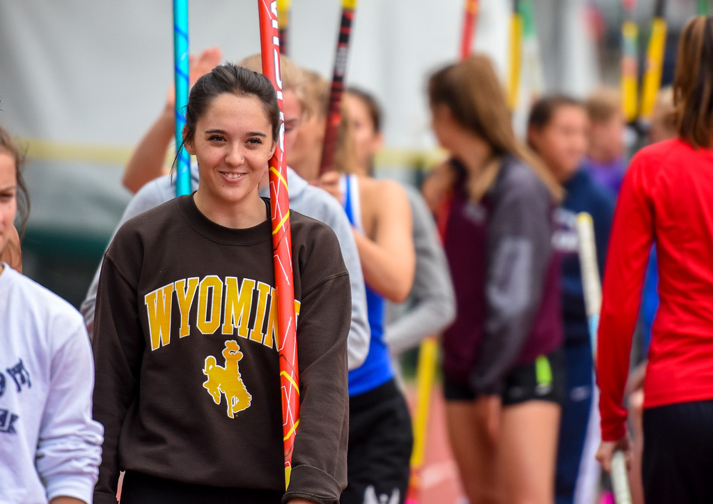 . Berthoud\'s Emma Briles smiles while waiting in line during warmups for 3A pole vault at the 2018 state track and field meet Friday May 18, 2018 at Jeffco Stadium in Lakewood. (Cris Tiller / Loveland Reporter-Herald)