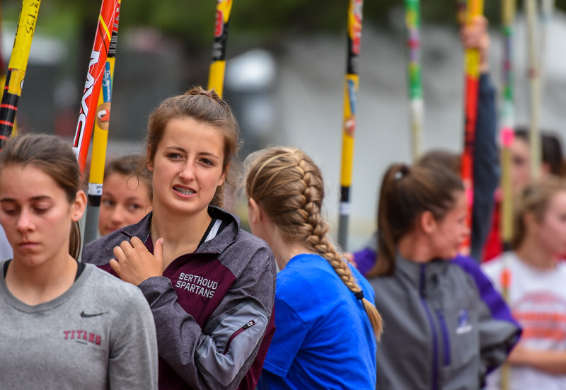 Berthoud's Jordan Keck lines up with her pole along with the other 3A pole vault competitors at the 2018 state track and field meet Friday May 18, 2018 at Jeffco Stadium in Lakewood. (Cris Tiller / Loveland Reporter-Herald)