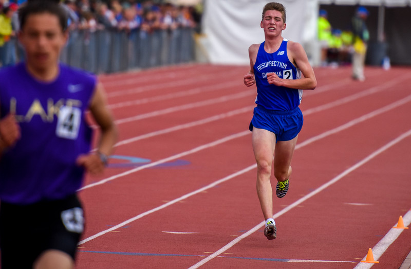 Resurrection Christian's Christian Fagerlin runs the 3,200 at the 2018 state track and field meet Friday May 18, 2018 at Jeffco Stadium in Lakewood. (Cris Tiller / Loveland Reporter-Herald)