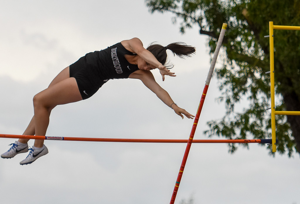 . Berthoud\'s Emma Briles clears the bar of the 3A pole vault at the 2018 state track and field meet Friday May 18, 2018 at Jeffco Stadium in Lakewood. (Cris Tiller / Loveland Reporter-Herald)