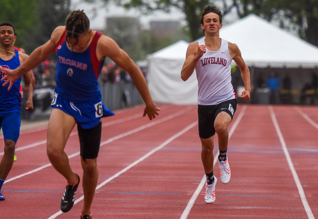 . Loveland\'s Adam Stark sprints to the finish of the 5A 400-meter dash at the 2018 state track and field meet Saturday May 19, 2018 at Jeffco Stadium in Lakewood. (Cris Tiller / Loveland Reporter-Herald)