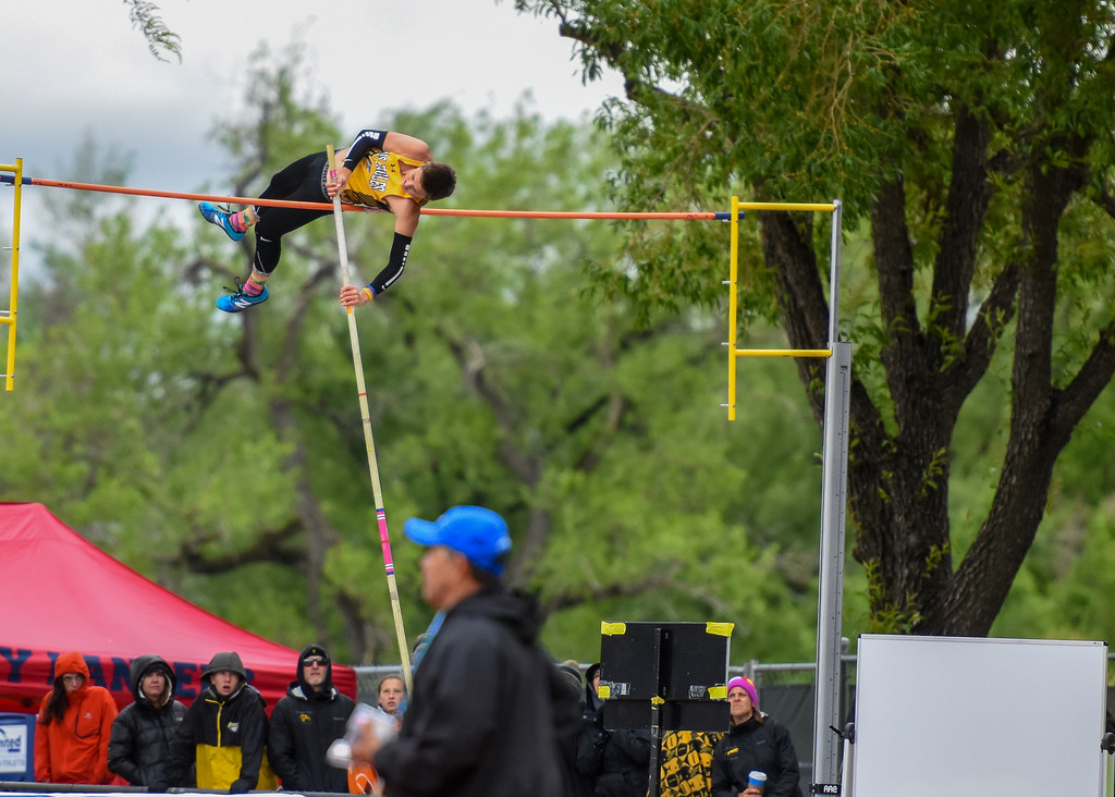 . Thompson Valley\'s Hayden Ell clears the bar during the 4A pole vault at the 2018 state track and field meet Saturday May 19, 2018 at Jeffco Stadium in Lakewood. (Cris Tiller / Loveland Reporter-Herald)