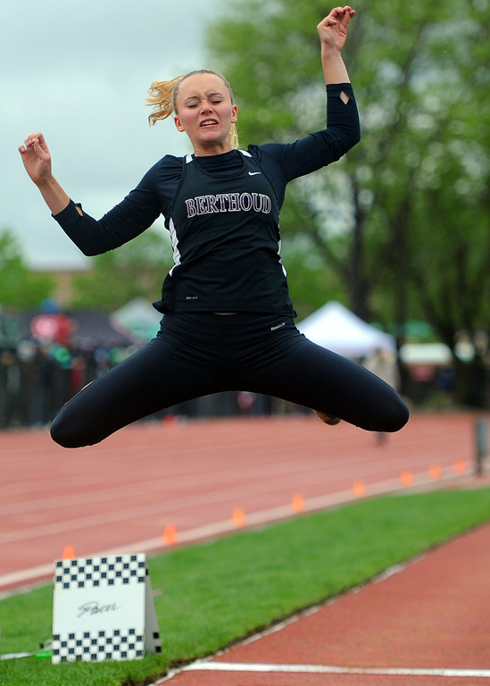. Berthoud\'s Sophie Visger competes in the 3A girls long jump at the state track and field championships on Saturday, May 19, 2018 at Jeffco Stadium in Lakewood. (Sean Star/Loveland Reporter-Herald)