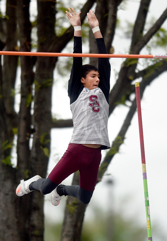 . Silver Creek High School\'s Hunter Potrykus clears the bar in the 4A pole-vault during the CHSAA State Track and Field Championships on Saturday at the Jeffco Stadium in Lakewood. For more photos of the races go to dailycamera.com Jeremy Papasso/ Staff Photographer 05/19/2018