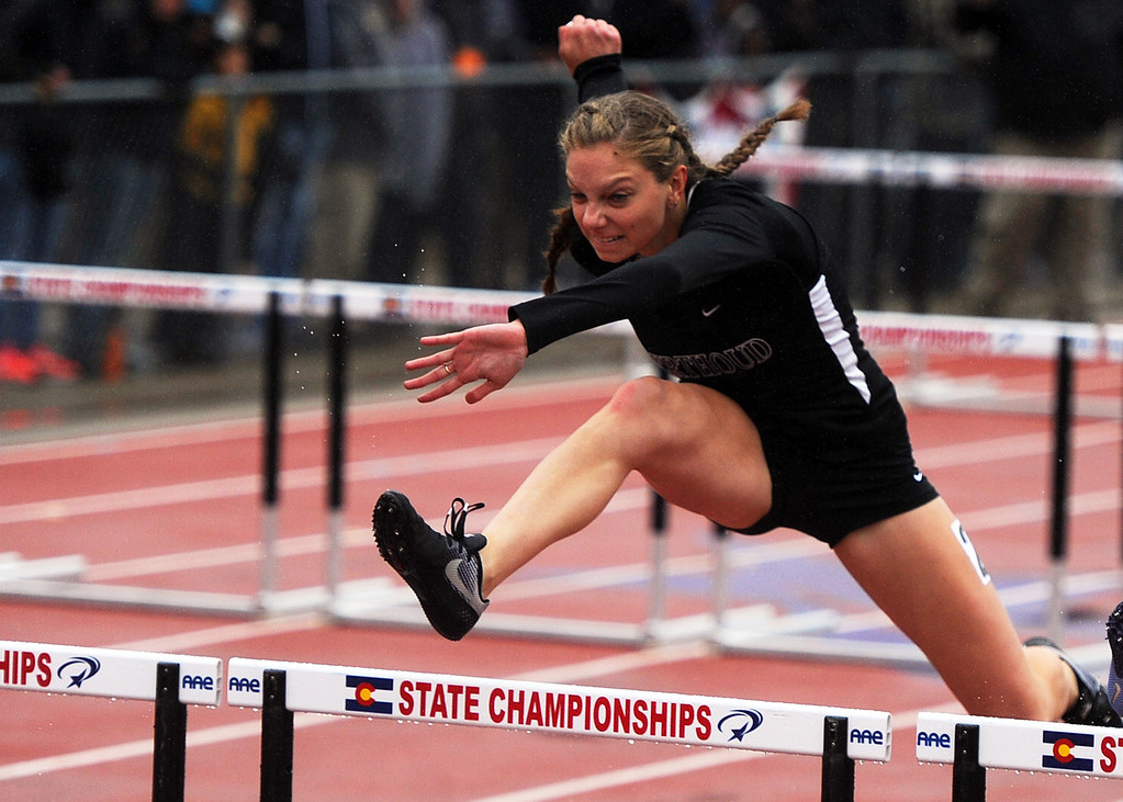 . Berthoud\'s Samantha Mulder competes in the 3A girls 100-meter hurdles at the state track and field championships on Saturday, May 19, 2018 at Jeffco Stadium in Lakewood. (Sean Star/Loveland Reporter-Herald)