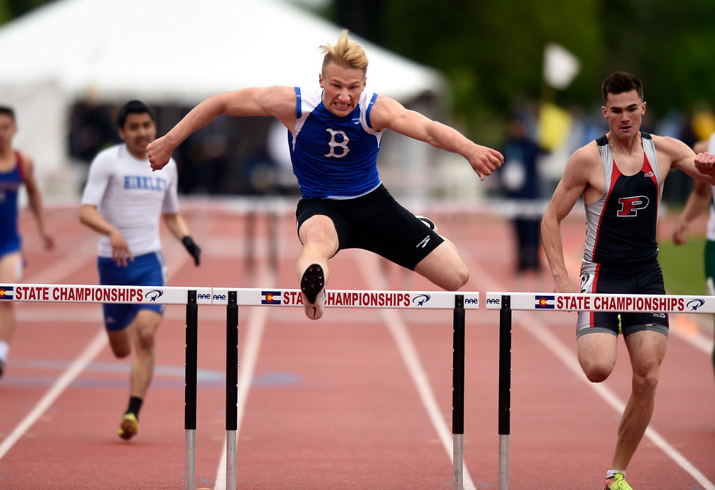 . Broomfield High School\'s Mitchell Gorman finishes in first place in the 5A 300-meter hurdles final during the CHSAA State Track and Field Championships on Saturday at the Jeffco Stadium in Lakewood. For more photos of the races go to dailycamera.com Jeremy Papasso/ Staff Photographer 05/19/2018