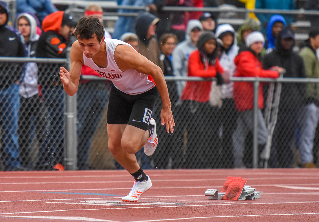 . Loveland\'s Adam Stark explodes from the blocks of the 5A 400-meter dash at the 2018 state track and field meet Saturday May 19, 2018 at Jeffco Stadium in Lakewood. (Cris Tiller / Loveland Reporter-Herald)