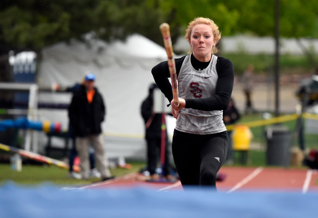 . Silver Creek High School\'s Abigail Gray competes in the 4 pole-vaulting final during the CHSAA State Track and Field Championships on Saturday at the Jeffco Stadium in Lakewood. Gray took first place. For more photos of the races go to dailycamera.com Jeremy Papasso/ Staff Photographer 05/19/2018