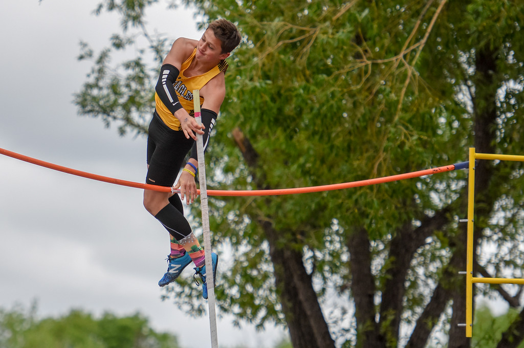 . Thompson Valley\'s Hayden Ell just misses clearing the bar during the 4A pole vault at the 2018 state track and field meet Saturday May 19, 2018 at Jeffco Stadium in Lakewood. (Cris Tiller / Loveland Reporter-Herald)