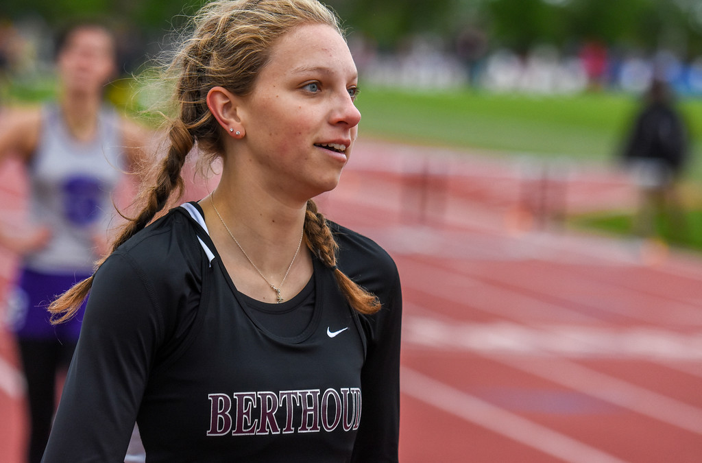 . Berthoud\'s Samantha Mulder smirks as she looks at the board after the 3A 300-meter hurdles at the 2018 state track and field meet Saturday May 19, 2018 at Jeffco Stadium in Lakewood. (Cris Tiller / Loveland Reporter-Herald)