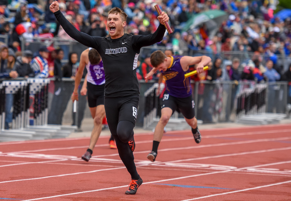 . Berthoud\'s Jake Rafferty shouts in celebration after winning the 3A 4x100-meter relay state championship at the 2018 state track and field meet Saturday May 19, 2018 at Jeffco Stadium in Lakewood. (Cris Tiller / Loveland Reporter-Herald)