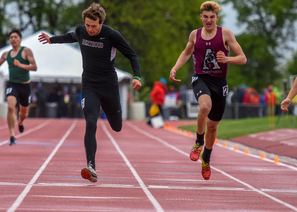 . Berthoud\'s Ryan Schmad crosses the finish line of the 3A 400-meter dash at the 2018 state track and field meet Saturday May 19, 2018 at Jeffco Stadium in Lakewood. (Cris Tiller / Loveland Reporter-Herald)