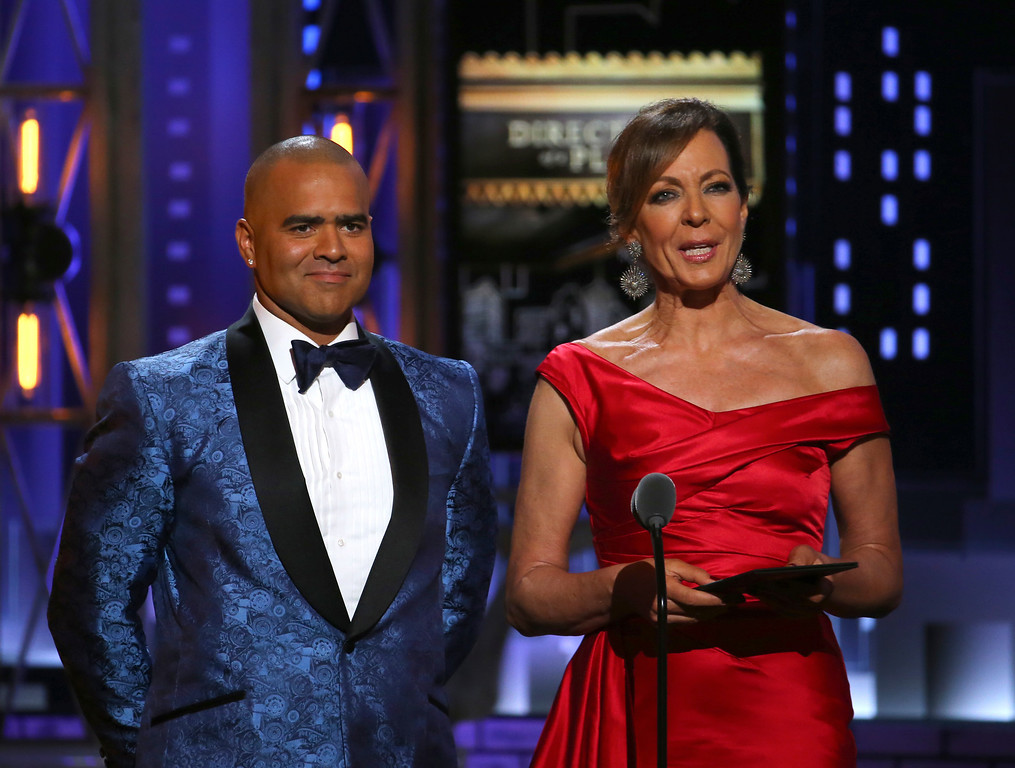 . Christopher Jackson, left, and Allison Janney present the award for best direction of a play at the 71st annual Tony Awards on Sunday, June 11, 2017, in New York. (Photo by Michael Zorn/Invision/AP)