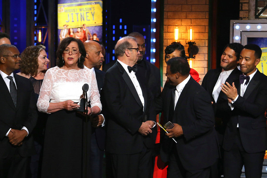 ". Lynne Meadow and the cast and crew of ""August Wilson\'s Jitney\"" accept the award for best revival of a play at the 71st annual Tony Awards on Sunday, June 11, 2017, in New York. (Photo by Michael Zorn/Invision/AP)"