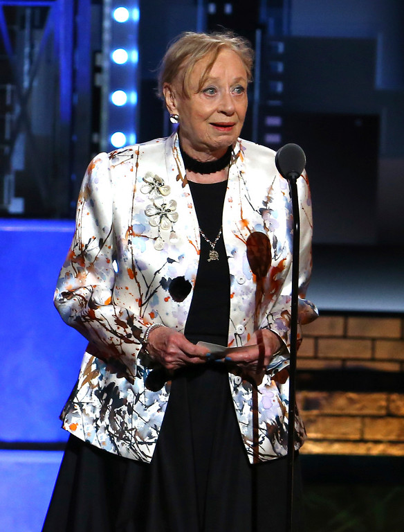 ". Jane Greenwood accepts the award for best costume design of a play for ""The Little Foxes\"" at the 71st annual Tony Awards on Sunday, June 11, 2017, in New York. (Photo by Michael Zorn/Invision/AP)"