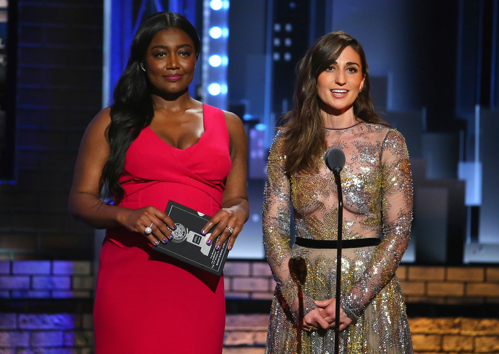 . Patina Miller, left, and Sara Bareilles present the award for best performance by an actress in a featured role in a musical at the 71st annual Tony Awards on Sunday, June 11, 2017, in New York. (Photo by Michael Zorn/Invision/AP)