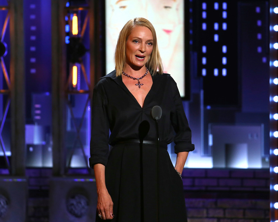 ". Uma Thurman introduces a performance by the cast of ""War Paint\"" at the 71st annual Tony Awards on Sunday, June 11, 2017, in New York. (Photo by Michael Zorn/Invision/AP)"