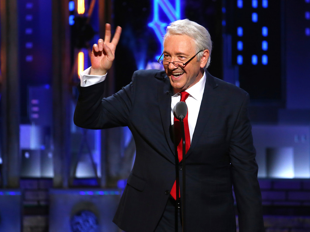 . Kevin Spacey impersonates President Bill Clinton at the 71st annual Tony Awards on Sunday, June 11, 2017, in New York. (Photo by Michael Zorn/Invision/AP)
