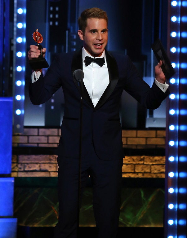 ". Ben Platt accepts the award for best performance by an actor in a leading role in a musical for ""Dear Evan Hansen\"" at the 71st annual Tony Awards on Sunday, June 11, 2017, in New York. (Photo by Michael Zorn/Invision/AP)"