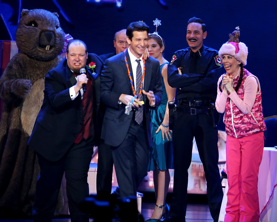". Andy Karl, center, and the cast of ""Groundhog Day The Musical\"" perform at the 71st annual Tony Awards on Sunday, June 11, 2017, in New York. (Photo by Michael Zorn/Invision/AP)"
