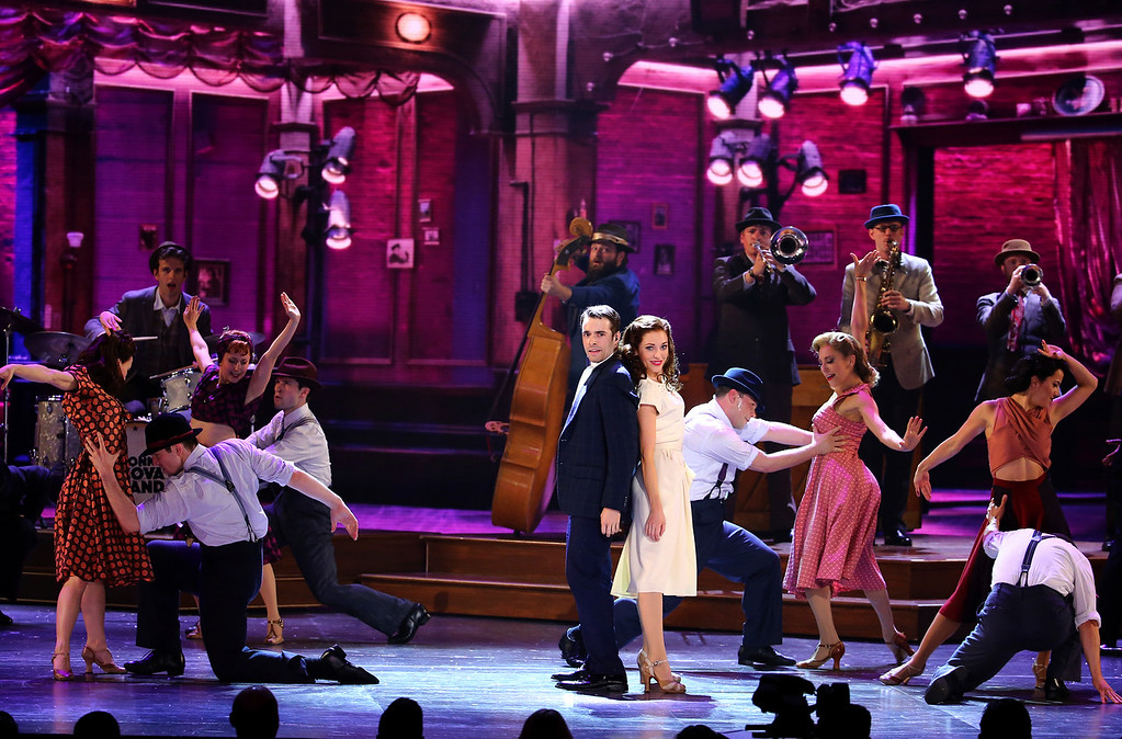 ". The cast of ""Bandstand\"" performs at the 71st annual Tony Awards on Sunday, June 11, 2017, in New York. (Photo by Michael Zorn/Invision/AP)"