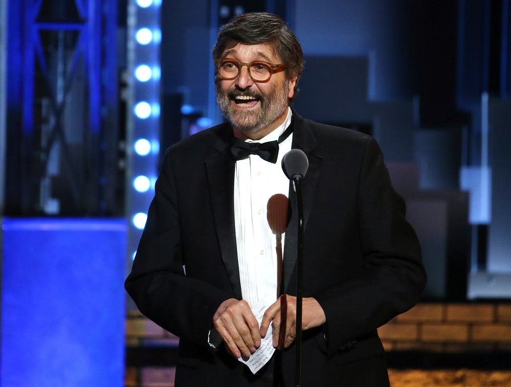 ". Santo Loquasto accepts the award for best costume design of a musical for ""Hello, Dolly!\"" at the 71st annual Tony Awards on Sunday, June 11, 2017, in New York. (Photo by Michael Zorn/Invision/AP)"