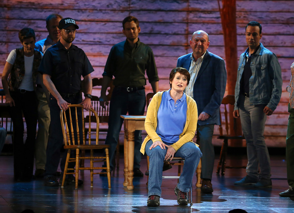 ". The cast of ""Come From Away\"" performs at the 71st annual Tony Awards on Sunday, June 11, 2017, in New York. (Photo by Michael Zorn/Invision/AP)"