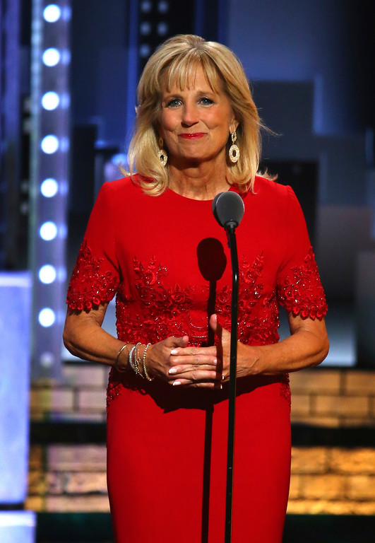 ". Jill Biden introduces a performance by the cast of ""Bandstand\"" at the 71st annual Tony Awards on Sunday, June 11, 2017, in New York. (Photo by Michael Zorn/Invision/AP)"