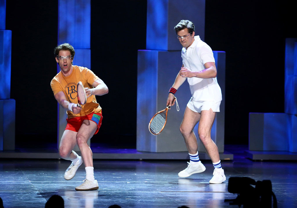 ". Christian Borle, left, and Andrew Rannells from the cast of ""Falsettos\"" perform at the 71st annual Tony Awards on Sunday, June 11, 2017, in New York. (Photo by Michael Zorn/Invision/AP)"