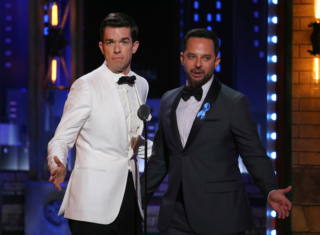 . John Mulaney, left, and Nick Kroll speak at the 71st annual Tony Awards on Sunday, June 11, 2017, in New York. (Photo by Michael Zorn/Invision/AP)