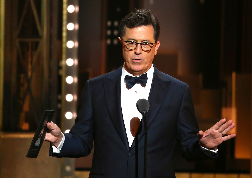 . Stephen Colbert presents the award for best revival of a musical at the 71st annual Tony Awards on Sunday, June 11, 2017, in New York. (Photo by Michael Zorn/Invision/AP)