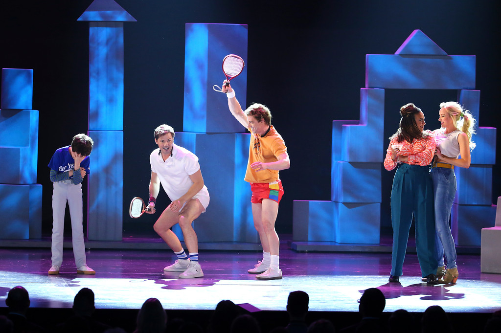 ". Anthony Rosenthal, from left, Andrew Rannells, Cristian Borle, Tracie Thoms and Betsy Wolfe from the cast of ""Falsettos\"" perform at the 71st annual Tony Awards on Sunday, June 11, 2017, in New York. (Photo by Michael Zorn/Invision/AP)"