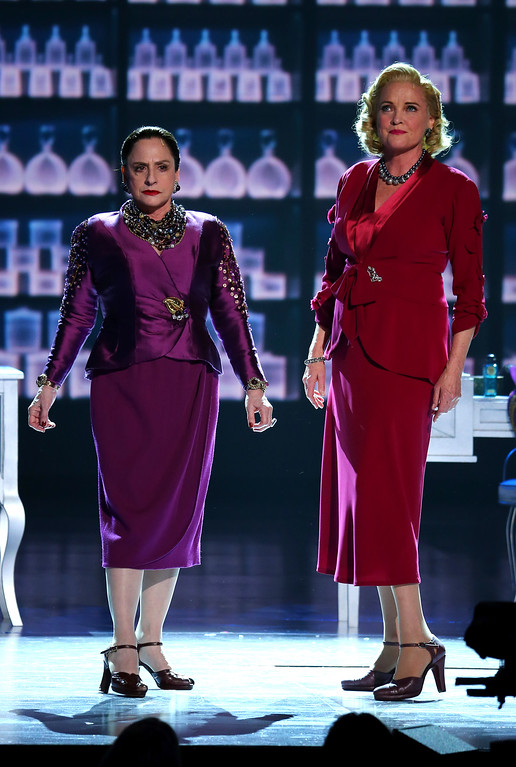 ". Patti Lupone , left, and Christine Ebersole of ""War Paint\"" perform at the 71st annual Tony Awards on Sunday, June 11, 2017, in New York. (Photo by Michael Zorn/Invision/AP)"