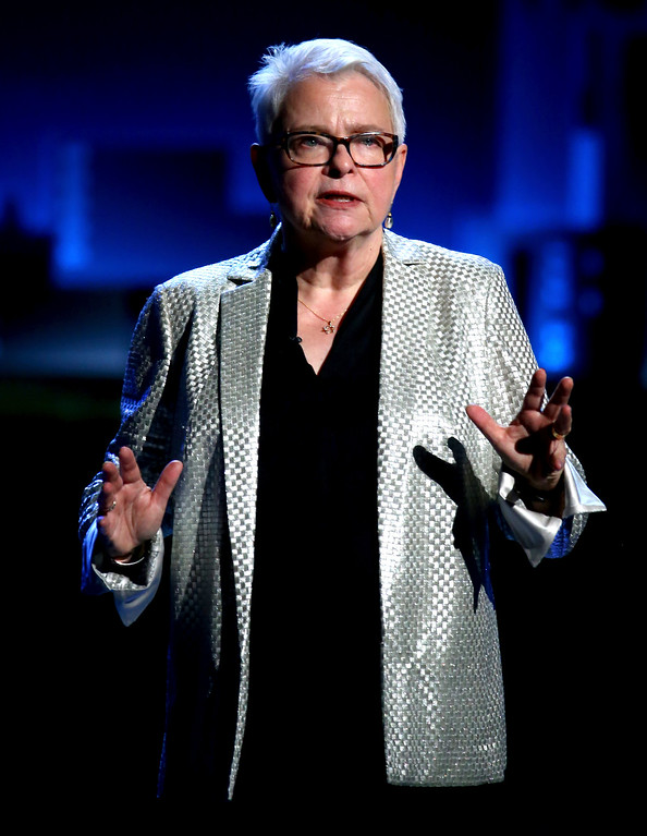 . Paula Vogel speaks at the 71st annual Tony Awards on Sunday, June 11, 2017, in New York. (Photo by Michael Zorn/Invision/AP)