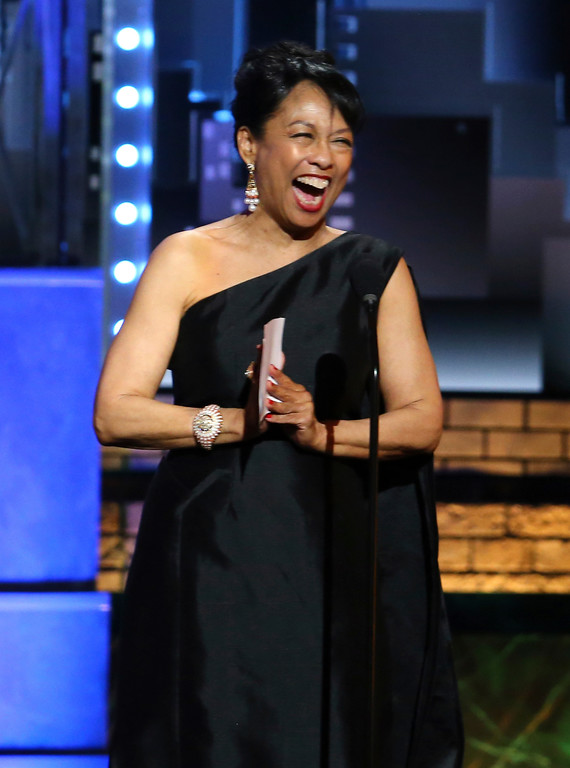 . Baayork Lee accepts the Isabelle Stevenson Tony award at the 71st annual Tony Awards on Sunday, June 11, 2017, in New York. (Photo by Michael Zorn/Invision/AP)