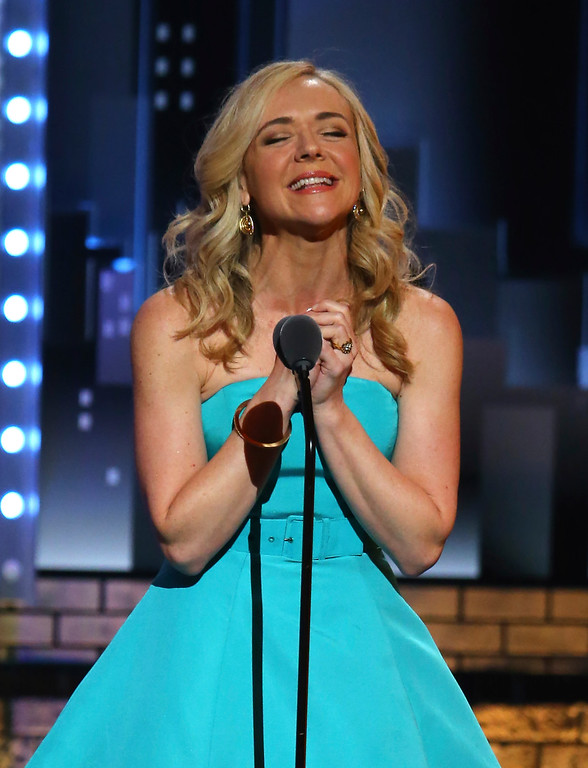 ". Rachel Bay Jones accepts the award for best performance by an actress in a featured role in a musical for ""Dear Evan Hansen\"" at the 71st annual Tony Awards on Sunday, June 11, 2017, in New York. (Photo by Michael Zorn/Invision/AP)"