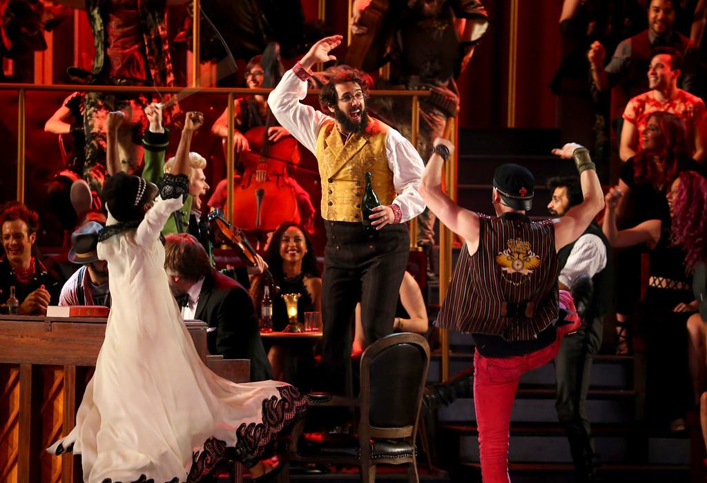 ". Josh Groban and the cast of ""Natasha, Pierre and the Great Comet of 1812\"" perform at the 71st annual Tony Awards on Sunday, June 11, 2017, in New York. (Photo by Michael Zorn/Invision/AP)"