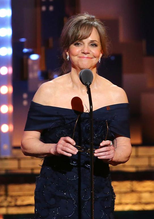 . Sally Field speaks at the 71st annual Tony Awards on Sunday, June 11, 2017, in New York. (Photo by Michael Zorn/Invision/AP)