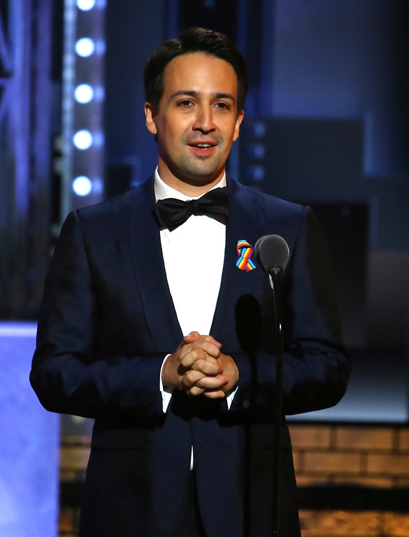 . Lin-Manuel Miranda presents the award for best musical at the 71st annual Tony Awards on Sunday, June 11, 2017, in New York. (Photo by Michael Zorn/Invision/AP)