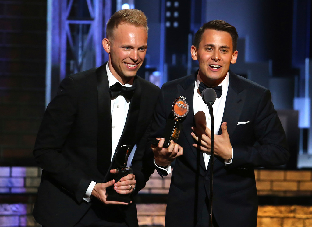 ". Justin Paul, left, and Benj Pasek accept the award for best original score (music and lyrics) written for the theatre for ""Dear Evan Hansen\"" at the 71st annual Tony Awards on Sunday, June 11, 2017, in New York. (Photo by Michael Zorn/Invision/AP)"