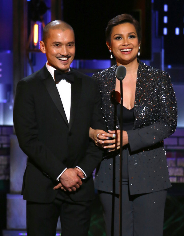 ". Jon Jon Briones, left, and Lea Salonga introduce a performance by the cast of ""Miss Saigon\"" at the 71st annual Tony Awards on Sunday, June 11, 2017, in New York. (Photo by Michael Zorn/Invision/AP)"