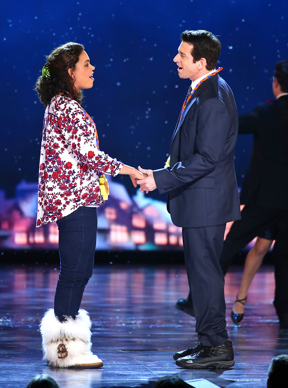 ". Barrett Doss, left, and Andy Karl perform with the cast of ""Groundhog Day The Musical\"" at the 71st annual Tony Awards on Sunday, June 11, 2017, in New York. (Photo by Michael Zorn/Invision/AP)"