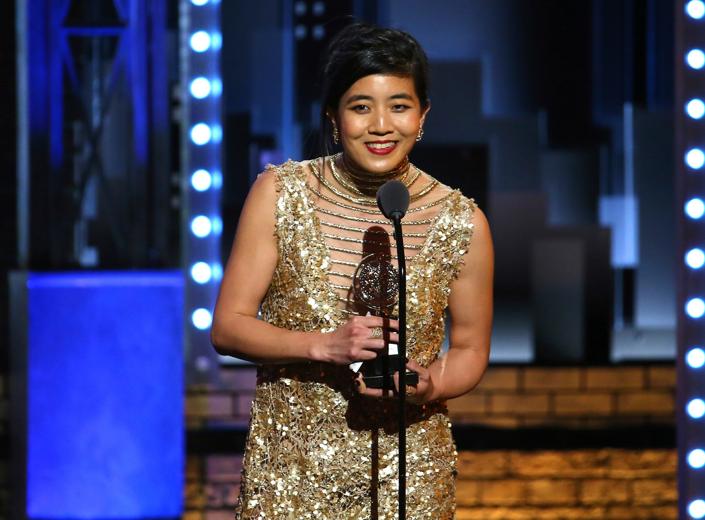 ". Mimi Lien accepts the award for best scenic design of a musical for ""Natasha, Pierre & The Great Comet of 1812\"" at the 71st annual Tony Awards on Sunday, June 11, 2017, in New York. (Photo by Michael Zorn/Invision/AP)"