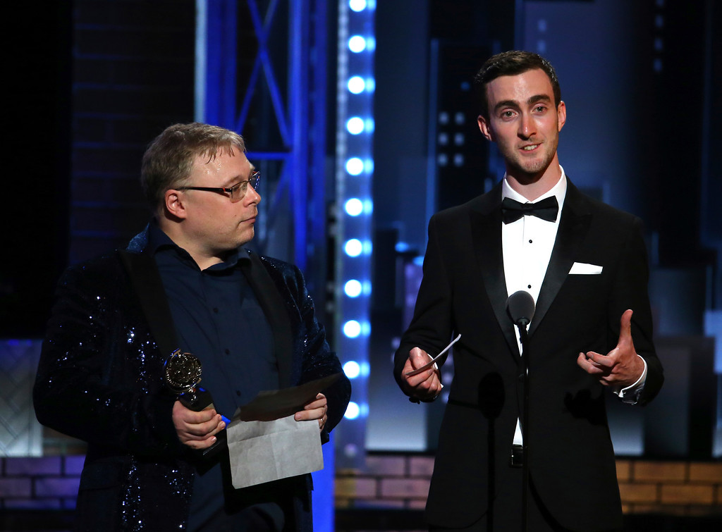 . Gareth Fry, left, and Pete Malkin, accept the special Tony award for sound design at the 71st annual Tony Awards on Sunday, June 11, 2017, in New York. (Photo by Michael Zorn/Invision/AP)