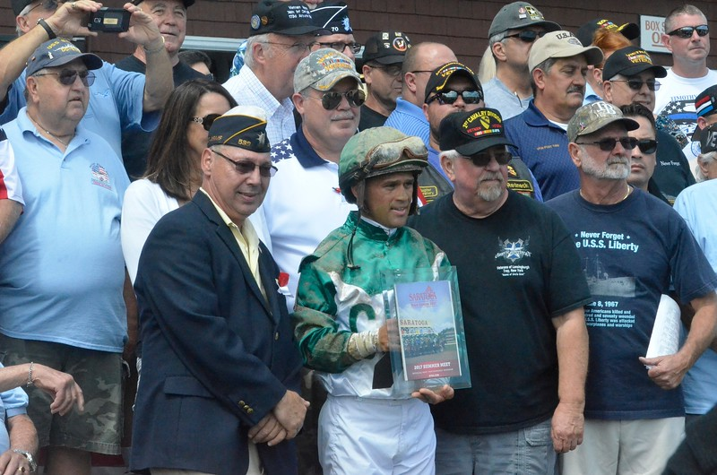 David M. Johnson - djohnson@digitalfirstmedia.com Veterans were invited into the winner's circle after Race 3 Wednesday, July 26 at Saratoga Race Course.